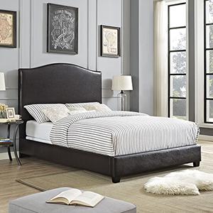 Bellingham Camelback Upholstered King Bedset in Brown Leatherette