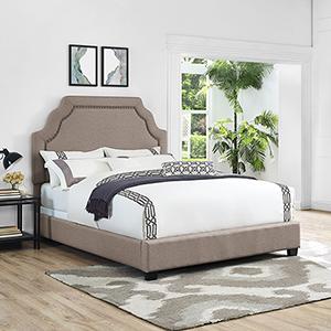 Bellingham Camelback Upholstered King Bedset in Oatmeal Linen