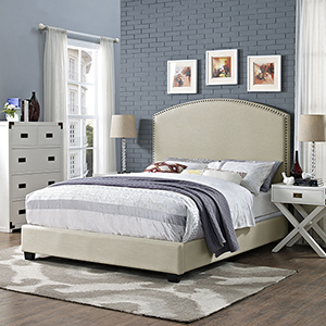 Cassie Curved Upholstered King Bedset in Creme Linen