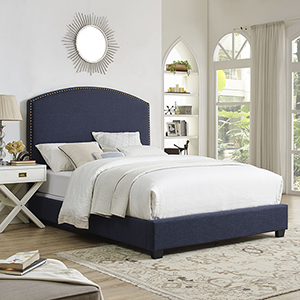 Cassie Curved Upholstered King Bedset in Navy Linen
