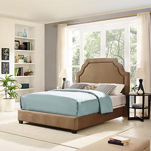 Loren Keystone Upholstered King Bedset in Camel Microfiber