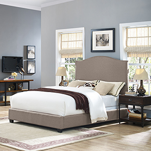 Loren Keystone Upholstered King Bedset in Oatmeal Linen