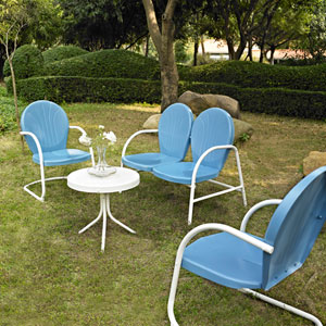 Griffith Four Piece Metal Outdoor Conversation Seating Set: Loveseat and Two Chairs in Sky Blue Finish with Side Table in