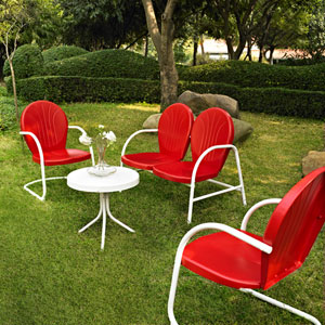 Griffith Four Piece Metal Outdoor Conversation Seating Set: Loveseat and Two Chairs in Red Finish with Side Table in White Finish