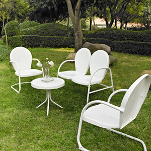 Griffith Four Piece Metal Outdoor Conversation Seating Set: Loveseat and Two Chairs in White Finish with Side Table in White