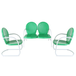 Griffith Three Piece Metal Outdoor Conversation Seating Set: Loveseat and Two Chairs in Grasshopper Green Finish
