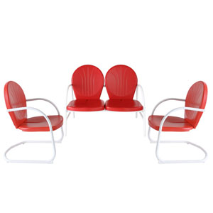 Griffith Three Piece Metal Outdoor Conversation Seating Set: Loveseat and Two Chairs in Red Finish