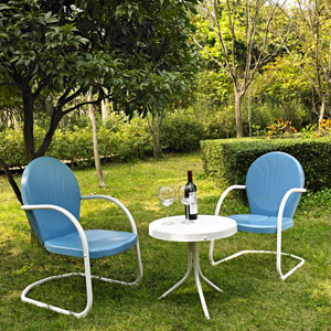Griffith Three Piece Metal Outdoor Conversation Seating Set: Two Chairs in Sky Blue Finish with Side Table in White Finish