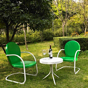 Griffith Three Piece Metal Outdoor Conversation Seating Set: Two Chairs in Grasshopper Green Finish with Side Table in White