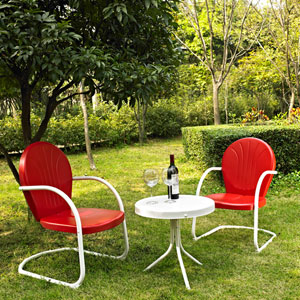 Griffith Three Piece Metal Outdoor Conversation Seating Set: Two Chairs in Red Finish with Side Table in White Finish