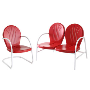 Griffith Two Piece Metal Outdoor Conversation Seating Set: Loveseat and Chair in Red Finish