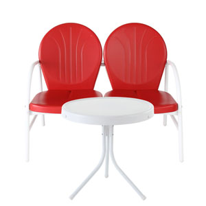 Griffith Two Piece Metal Outdoor Conversation Seating Set: Loveseat and Table in Red Finish