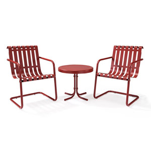 Gracie Coral Red Three Piece Metal Outdoor Conversation Seating Set