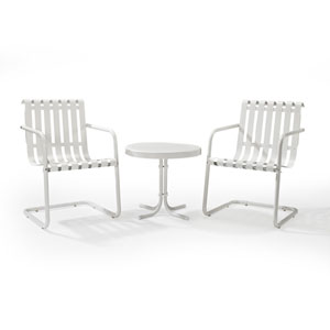 Gracie Alabaster White Three Piece Metal Outdoor Conversation Seating Set
