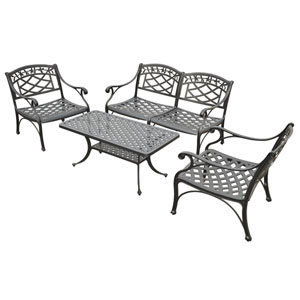 Sedona Four Piece Cast Aluminum Outdoor Conversation Seating Set: Loveseat, Two Club Chairs and Cocktail Table in Black Finish
