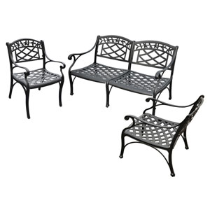 Sedona Three Piece Cast Aluminum Outdoor Conversation Seating Set: Loveseat and Two Club Chairs Black Finish