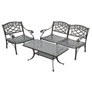 Sedona Three Piece Cast Aluminum Outdoor Conversation Seating Set: Loveseat, Club Chair and Cocktail Table Black Finish