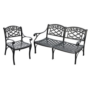 Sedona Two Piece Cast Aluminum Outdoor Conversation Seating Set: Loveseat and Club Chair Black Finish