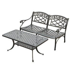 Sedona Two Piece Cast Aluminum Outdoor Conversation Seating Set: Loveseat and Cocktail Table Black Finish