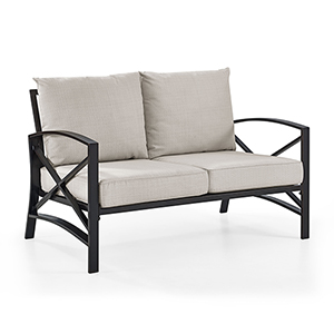 Kaplan Loveseat in Oiled Bronze With Oatmeal Universal Cushion Cover
