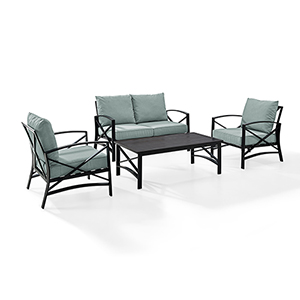 Kaplan 4 Piece Outdoor Seating Set With Mist Cushion - Loveseat, Two Chairs, Coffee Table