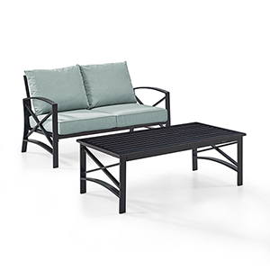 Kaplan 2 Piece Outdoor Seating Set With Mist Cushion - Loveseat, Coffee Table