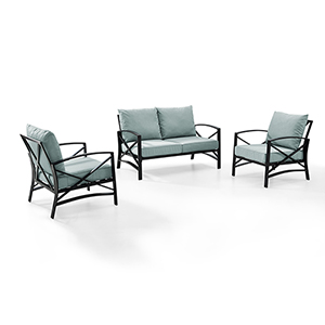 Kaplan 3 Piece Outdoor Seating Set With Mist Cushion - Loveseat, Two Outdoor Chairs