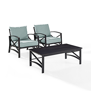 Kaplan 3 Piece Outdoor Seating Set With Mist Cushion - Two Outdoor Chairs, Coffee Table