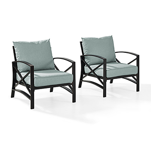 Kaplan 2 Piece Outdoor Seating Set With Mist Cushion -  Two Outdoor Chairs