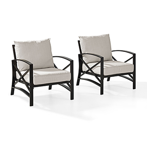 Kaplan 2 Piece Outdoor Seating Set With Oatmeal Cushion -  Two Outdoor Chairs