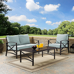 Kaplan 3 Piece Outdoor Seating Set With Mist Cushion - Loveseat, Chair , Coffee Table