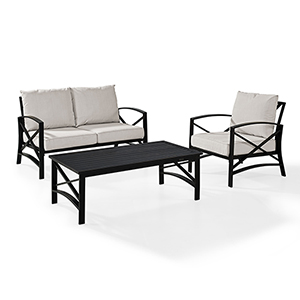 Kaplan 3 Piece Outdoor Seating Set With Oatmeal Cushion - Loveseat, Chair , Coffee Table