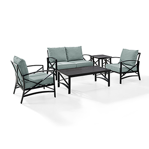 Kaplan 5 Piece Outdoor Seating Set With Mist Cushion - Loveseat, Two Chairs, Coffee Table, Side Table