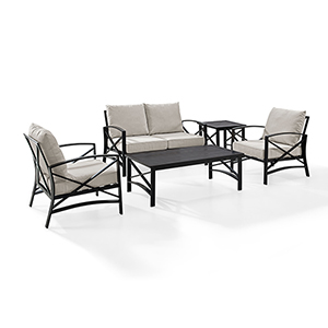 Kaplan 5 Piece Outdoor Seating Set With Oatmeal Cushion - Loveseat, Two Chairs, Coffee Table, Side Table