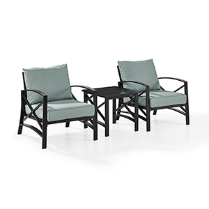 Kaplan 3 Piece Outdoor Seating Set With Mist Cushion - Two Chairs, Side Table