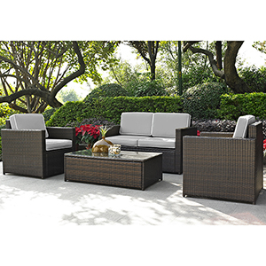 Palm Harbor 4 Piece Outdoor Wicker Seating Set With Grey Cushions - Loveseat, Two Chairs and Glass Top Table
