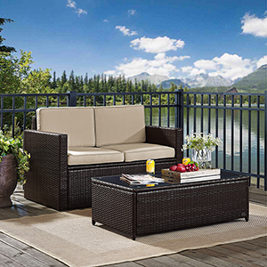 Palm Harbor 2 Piece Outdoor Wicker Seating Set With Sand Cushions - Loveseat and Glass Top Table
