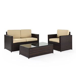 Palm Harbor 3 Piece Outdoor Wicker Seating Set With Sand Cushions - Loveseat, Chair and Glass Top Table
