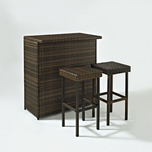 Palm Harbor Three Piece Outdoor Wicker Bar Set