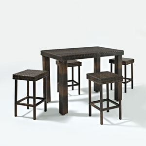 Palm Harbor Five Piece Outdoor Wicker High Dining Set, Table and Four Stools