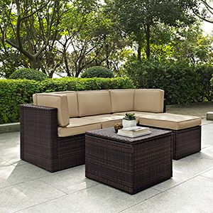 Palm Harbor 5 Piece Outdoor Wicker Seating Set With Sand Cushions - Two Corner Chairs,  Center Chair,  Ottoman and Coffee