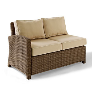 Bradenton Outdoor Wicker Sectional Left Corner Loveseat with Sand Cushions