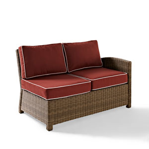 Bradenton Outdoor Wicker Sectional Right Corner Loveseat with Sangria Cushions