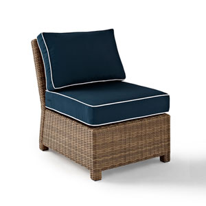 Bradenton Outdoor Wicker Sectional Center Chair with Navy Cushions