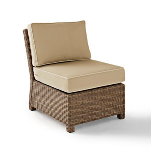 Bradenton Outdoor Wicker Sectional Center Chair with Sand Cushions