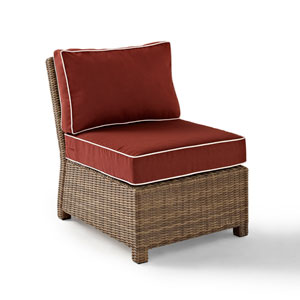 Bradenton Outdoor Wicker Sectional Center Chair with Sangria Cushions
