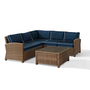 Bradenton 4-Piece Outdoor Wicker Seating Set with Navy Cushions -  Corner Loveseat,  Corner Loveseat, Corner Chair, Sectional