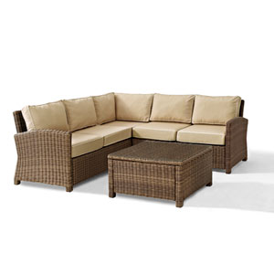 Bradenton 4-Piece Outdoor Wicker Seating Set with Sand Cushions -  Corner Loveseat,  Corner Loveseat, Corner Chair, Sectional