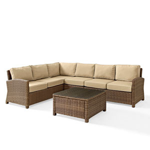 Bradenton 5-Piece Outdoor Wicker Seating Set with Sand Cushions -  Corner Loveseat,  Corner Loveseat, Corner Chair, Center