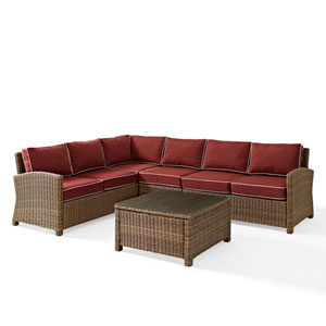 Bradenton Sangria 5-Piece Outdoor Wicker Seating Set with Cushions